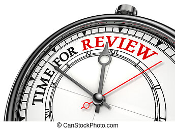 time for review concept clock closeup on white background...