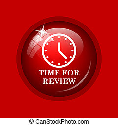 Time for review icon. Internet button on red background.