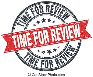 time for review red round grunge vintage ribbon stamp