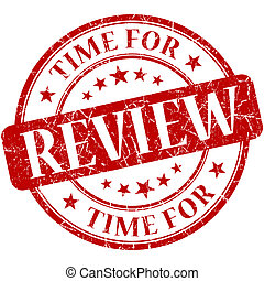Time for review red round grungy vintage isolated rubber ...