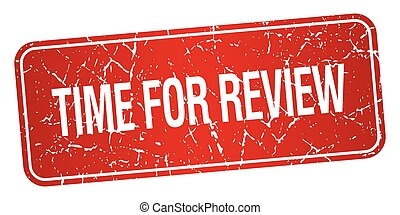 time for review red square grunge textured isolated stamp