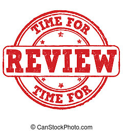 Time for review grunge rubber stamp on white, vector illustration
