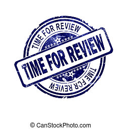 Time for review word with blue round stamp