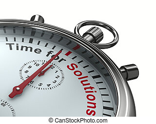 Time for solution. Stopwatch on white background. Isolated 3D image