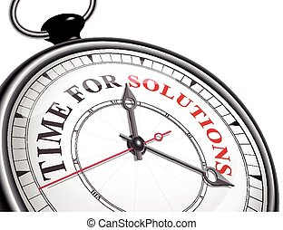 time for solutions concept clock isolated on white background