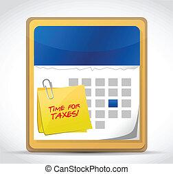 time for taxes calendar illustration design