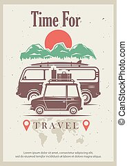Time for travel vector retro grunge poster design template