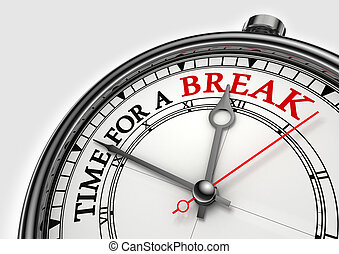 time fora break concept clock closeup on white background...
