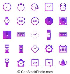Time gradient icons on white background
