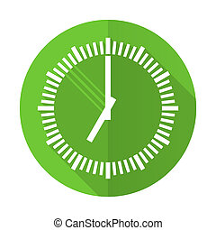 time green flat icon clock sign