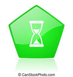 time green pentagon web glossy icon