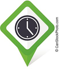 Time green square pointer vector icon in eps 10 on white ...