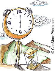 Hand drawn watercolorvector illustration or drawing of a man in a suit with a clock instead of head