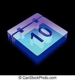 Time icon: 3d neon glowing Calendar made of glass, vector illustration.