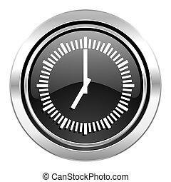 time icon, black chrome button, clock sign