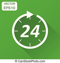 Time icon. Business concept 24 hours clock pictogram. Vector illustration on green background with long shadow.
