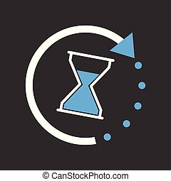Time icon. Flat vector illustration with hourglass on black background.