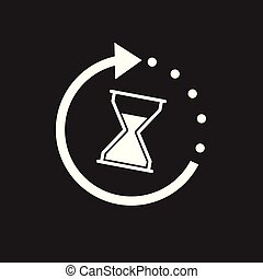 Time icon. Flat vector illustration with hourglass on black ...