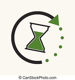 Time icon. Flat vector illustration with hourglass on white background.