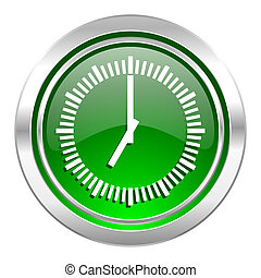 time icon, green button, clock sign