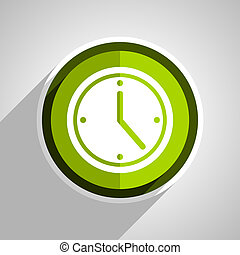 time icon, green circle flat design internet button, web and mobile app illustration