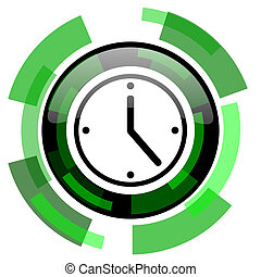 time icon, green modern design isolated button, web and ...