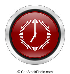 time icon, red round button isolated on white background, ...