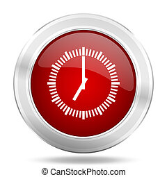 time icon, red round glossy metallic button, web and mobile ...