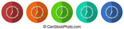 Time icon set, clock, watch, red, blue, green and orange flat design web buttons isolated on white background, vector illustration