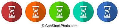 Time icon set, red, blue, green and orange flat design web buttons isolated on white background, vector illustration