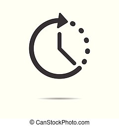 Time icon - simple flat design isolated on white background, vector