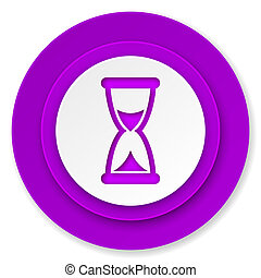 time icon, violet button, hourglass sign