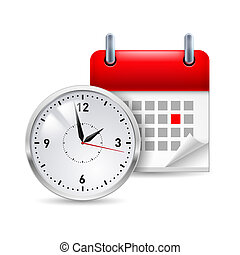 Time icon with calendar and clock in front of it