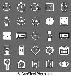 Time icons on gray background