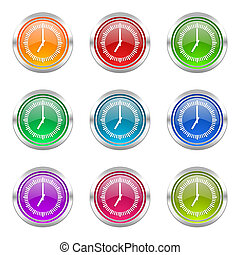 time icons set clock sign