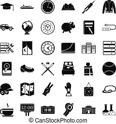 Time icons set, simple style