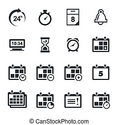 Time icons set - Time icon collection on a white background
