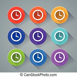 time icons with various colors