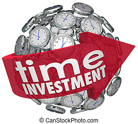 Time Investment Words Arrow Clocks Sphere Manage Resources...