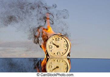 time is a fire - vintage clock in afire