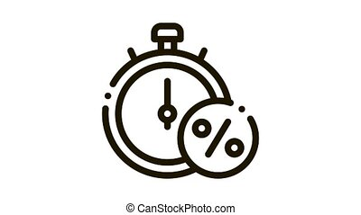 Time is Interest Icon Animation. black Time is Interest animated icon on white background
