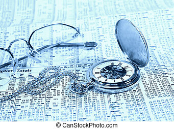 Time Is Money 2 - Photo of a Pocket Watch and Stock Section.