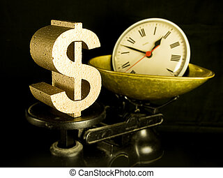 time is money, a gold dollar sign and a clock on scales