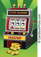 Time is money - A vector illustration of a slot machine...