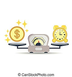 Time is money. Business concept. Balance time and money on the scales. Vector illustration.
