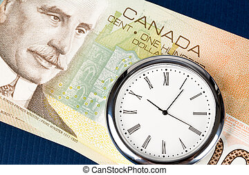 Time is Money, canadian dollar and clock