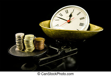 time is money, clock and money on scales