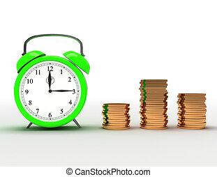 Time is money concept. 3d illustration