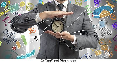 Concept of time is money with businessman and clock