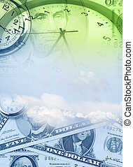 Time is money concept - Clock and banknotes. Time is money...